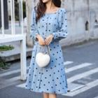 Square Neck Puff Sleeve Dotted Print A-line Dress