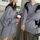 Couple Matching Striped Hooded Shirt