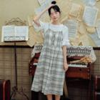 Set: Frill Trim Top + Plaid Sleeveless Dress