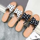 Dotted Cross Strap Slide Sandals
