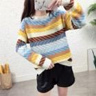Patterned Long Sleeve Knit Top As Shown In Figure - One Size
