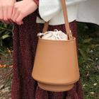 Inset Drawcord Pouch Faux-leather Bucket Bag