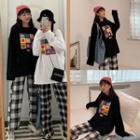 Long-sleeve Smiley Face Graphic T-shirt / Plaid Pants