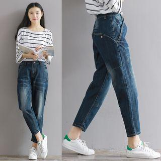 Washed Cropped Boyfriend Jeans
