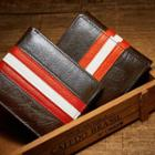 Contrast Trim Genuine Leather Trifold Wallet Brown - One Size