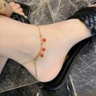 Faux Crystal Anklet Red & Gold - One Size