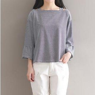 3/4-sleeve Pinstriped Top