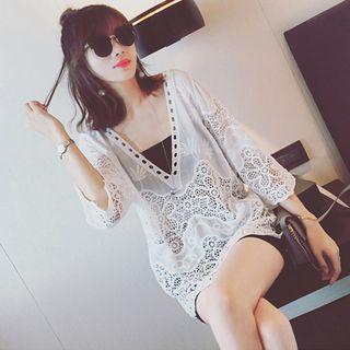 3/4-sleeve Crochet V-neck Top White - One Size