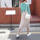 Pocket-side A-line Midi Skirt