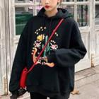 Printed Hooded Pullover Black - One Size