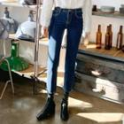 Cropped Fleece-lined Straight-cut Jeans