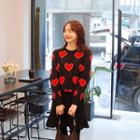Heart Patterned Knit Top