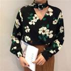 Choker Neck Floral Print Chiffon Blouse