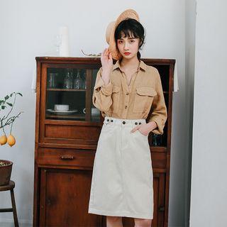 Denim Plain A-line Skirt