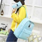 Rabbit Print Canvas Backpack With Pouch