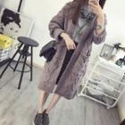 Cable Knit Long Open Front Cardigan