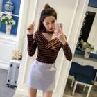 Mesh Panel Striped Long-sleeve Knit Top