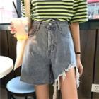 Asymmetric Fray-hem Wide-leg Denim Shorts