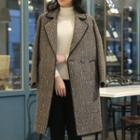 Multicolor Herringbone Wool Blend Coat