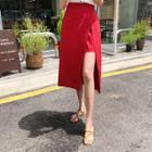 Inset Mini Skirt Slit-front Midi Skirt