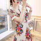 Short-sleeve Floral Print Chiffon A-line Dress