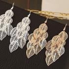 Cutout Alloy Leaf Dangle Earring