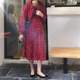 Long-sleeve Dotted Midi Collared Pleated Dress