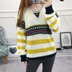 Striped Trim Chunky Knit Sweater