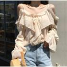 Cold Shoulder Ruffle Blouse Almond - One Size