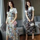 Set: Short-sleeve T-shirt Dress + Strappy Midi Chiffon Dress