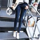 Zip-pocket Fleece Lined Skinny Jeans