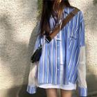 Mesh Panel Striped Shirt As Shown In Figure - One Size