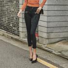 Zip-trim Coated Skinny Pants