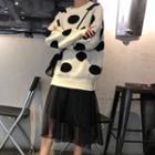 Dotted Sweater / Mesh Panel Midi Skirt