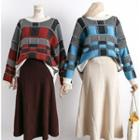 Colorblock Plaid Knit Sweater