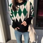 Dip-back Argyle Sweater