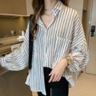 Striped Pocket Detail Oversize Shirt