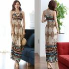 Patterned Sleeveless Maxi Sun Dress