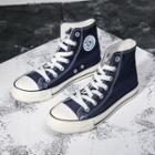 High-top Canvas Stitched Sneakers
