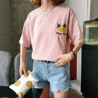 Pineapple Embroidered Short-sleeve T-shirt