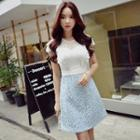 Short-sleeve Color-block Lace Dress