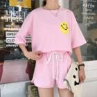 Set : Smiley Face Elbow-sleeve Top + Shorts
