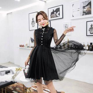 Long-sleeve Lace Panel A-line Mesh Dress
