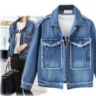 Fray Collared Denim Jacket