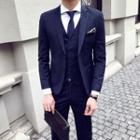 Set: Striped Blazer + Dress Pants + Vest