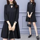 Embellished 3/4-sleeve Pinstriped A-line Minidress