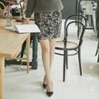 High-waist Patterned Pencil Skirt
