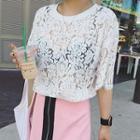 Short-sleeve Plain Lace Top