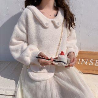Set: Faux-fur Pullover + Mesh Midi Spaghetti Strap Dress + Crossbody Bag