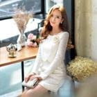 Long-sleeve Flower-accent Lace Dress
